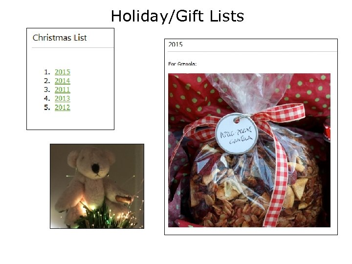 Holiday/Gift Lists