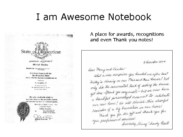 I am Awesome Notebook A place for awards, recognitions and even Thank you notes!