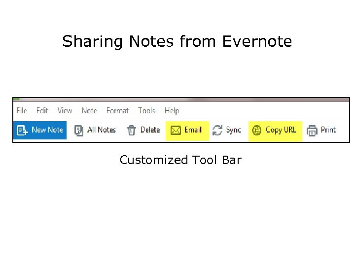 Sharing Notes from Evernote Customized Tool Bar