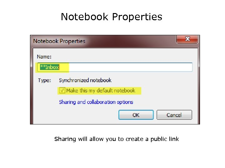 Notebook Properties Sharing will allow you to create a public link