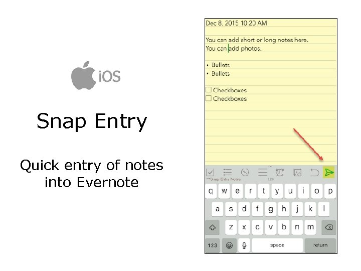 Snap Entry Quick entry of notes into Evernote