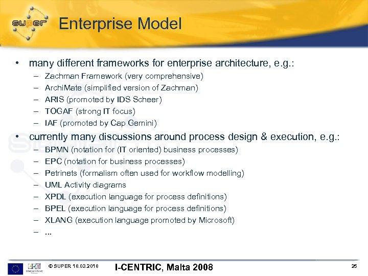 Enterprise Model • many different frameworks for enterprise architecture, e. g. : – –