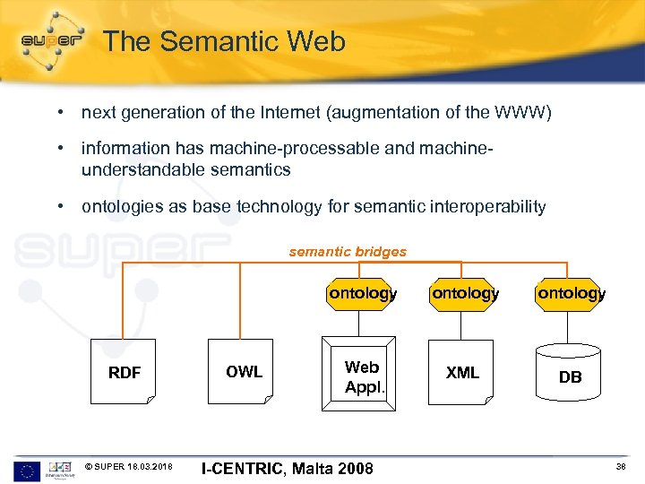 The Semantic Web • next generation of the Internet (augmentation of the WWW) •