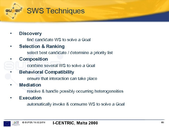 SWS Techniques • Discovery find candidate WS to solve a Goal • Selection &