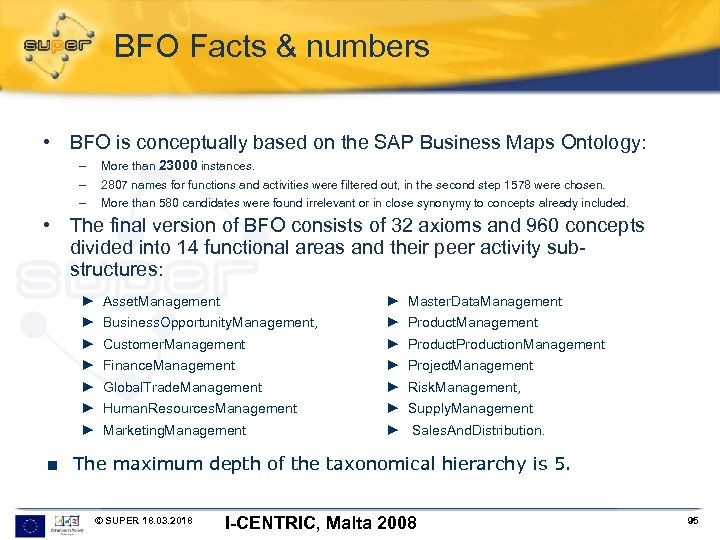 BFO Facts & numbers • BFO is conceptually based on the SAP Business Maps
