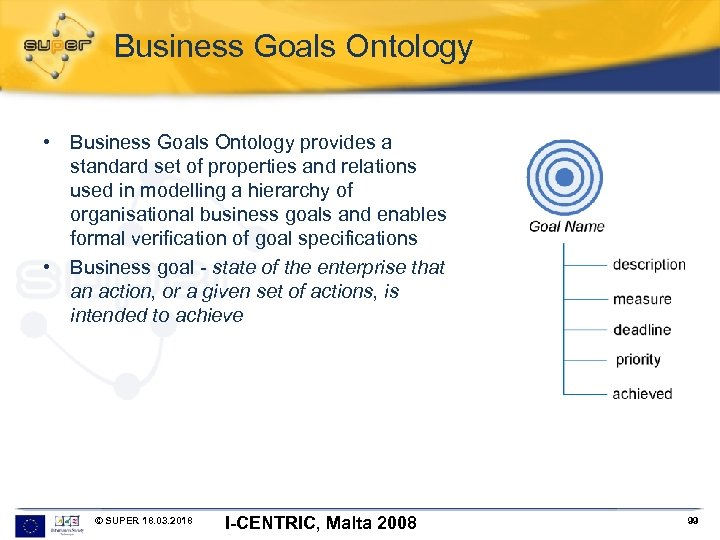 Business Goals Ontology • Business Goals Ontology provides a standard set of properties and