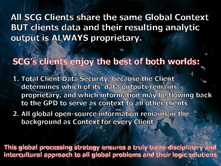All SCG Clients share the same Global Context BUT clients data and their resulting