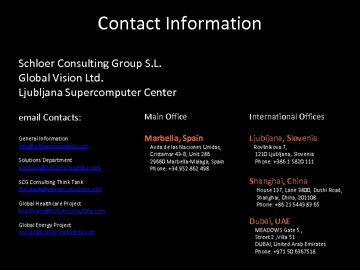 Contact Information Schloer Consulting Group S. L. Global Vision Ltd. Ljubljana Supercomputer Center email