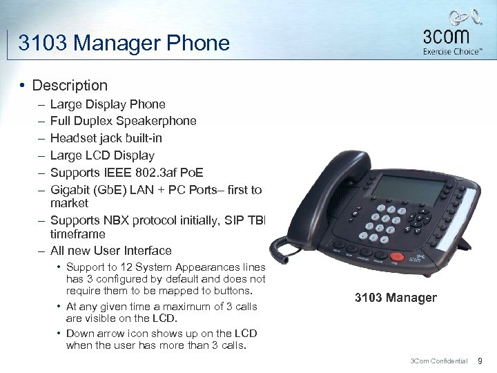 3103 Manager Phone • Description – – – Large Display Phone Full Duplex Speakerphone