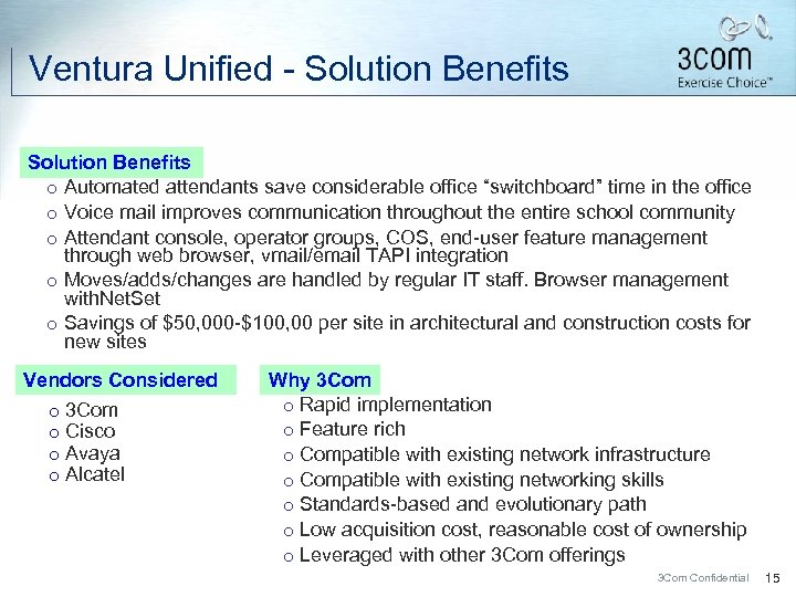 """Ventura Unified - Solution Benefits ¡ Automated attendants save considerable office """"switchboard"""" time in"""