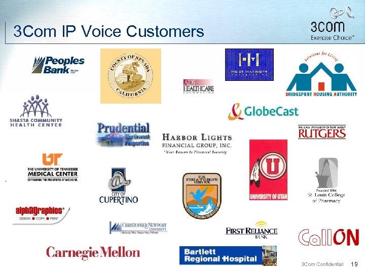 3 Com IP Voice Customers 3 Com Confidential 19