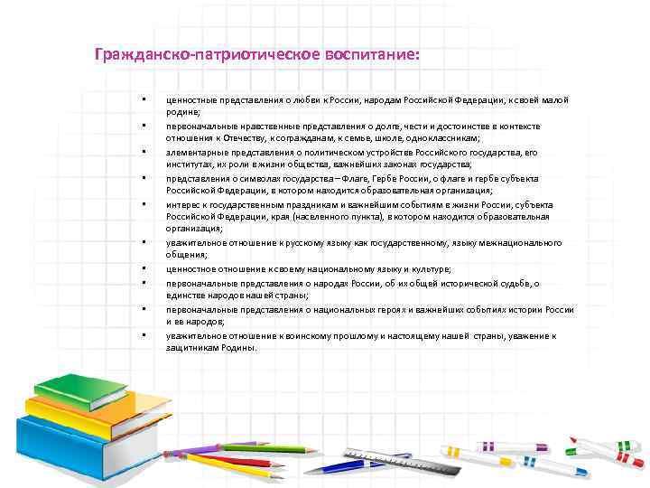 Гражданско-патриотическое воспитание: • • • ценностные представления о любви к России, народам Российской Федерации,