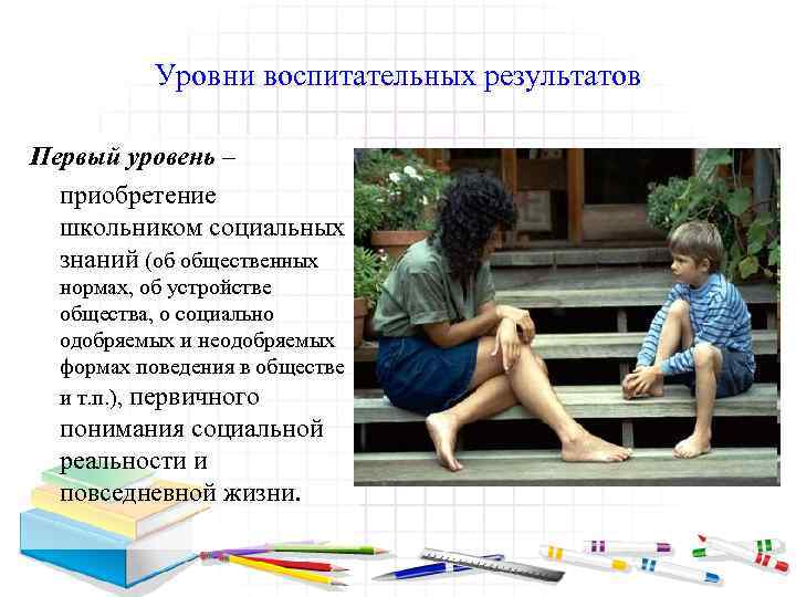 Уровни воспитательных результатов Первый уровень – приобретение школьником социальных знаний (об общественных нормах, об