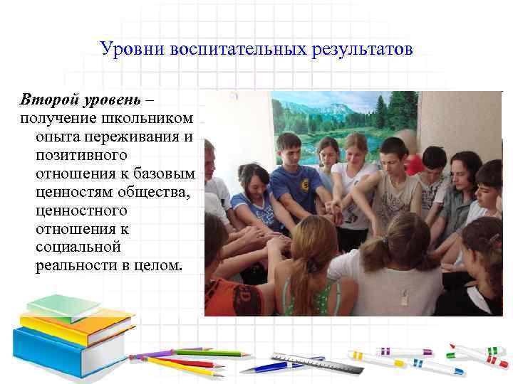 Уровни воспитательных результатов Второй уровень – получение школьником опыта переживания и позитивного отношения к