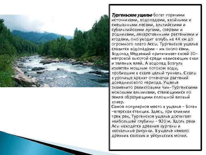 Тургеньское ущелье богат горячими источниками, водопадами, хвойными и смешанными лесами, альпийскими и субальпийскими лугами,