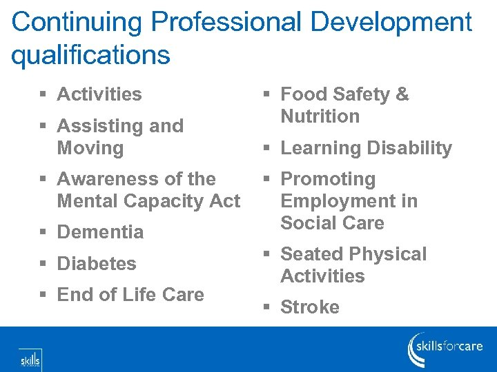 Continuing Professional Development qualifications § Activities § Assisting and Moving § Awareness of the