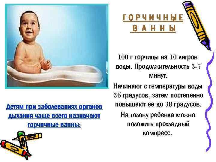 ГОРЧИЧНЫЕ В А Н Н Ы Детям при заболеваниях органов дыхания чаще всего назначают