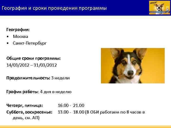 География и сроки проведения программы География: • Москва • Санкт-Петербург Общие сроки программы: 14/03/2012