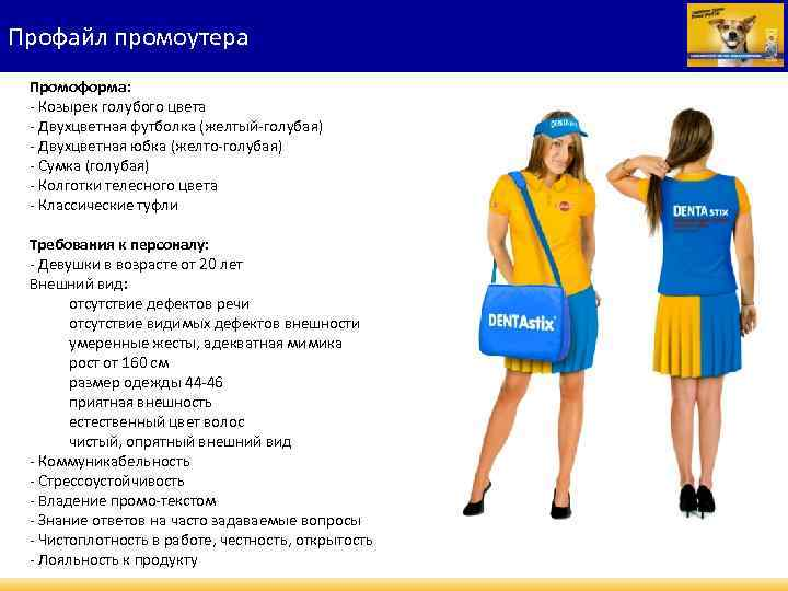 Профайл промоутера Промоформа: - Козырек голубого цвета - Двухцветная футболка (желтый-голубая) - Двухцветная юбка