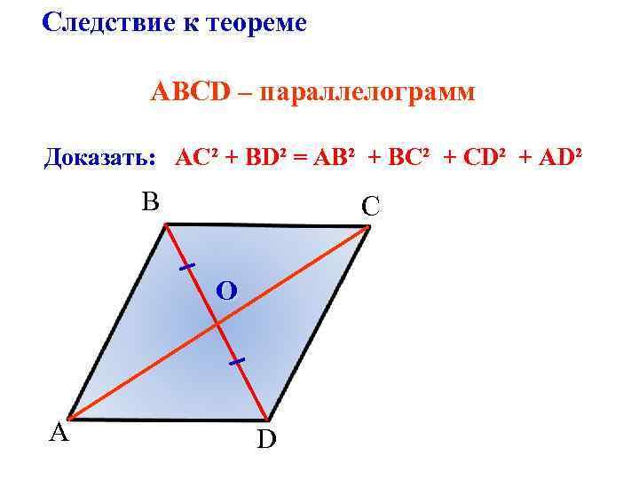 Следствие к теореме ABСD – параллелограмм Доказать: АС² + BD² = АB² + BС²
