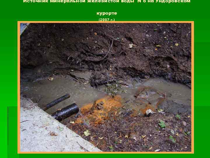 Источник минеральной железистой воды N 8 на Ундоровском курорте (2007 г. )