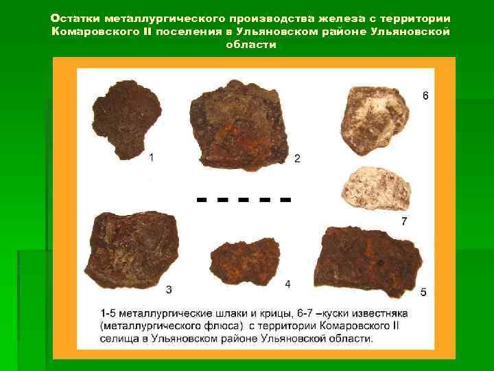 Остатки металлургического производства железа с территории Комаровского II поселения в Ульяновском районе Ульяновской области