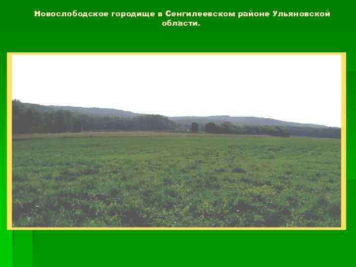 Новослободское городище в Сенгилеевском районе Ульяновской области.