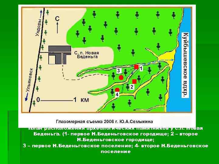 План расположения археологических памятников у с. п. Новая Беденьга. (1 - первое Н. Беденьговское