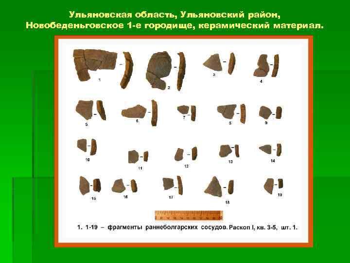 Ульяновская область, Ульяновский район, Новобеденьговское 1 -е городище, керамический материал.