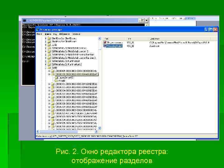 Рис. 2. Окно редактора реестра: отображение разделов