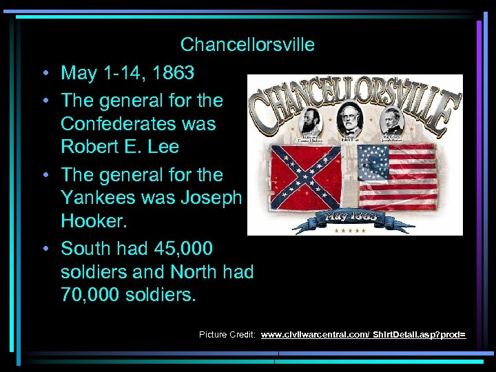 • • Chancellorsville May 1 -14, 1863 The general for the Confederates was