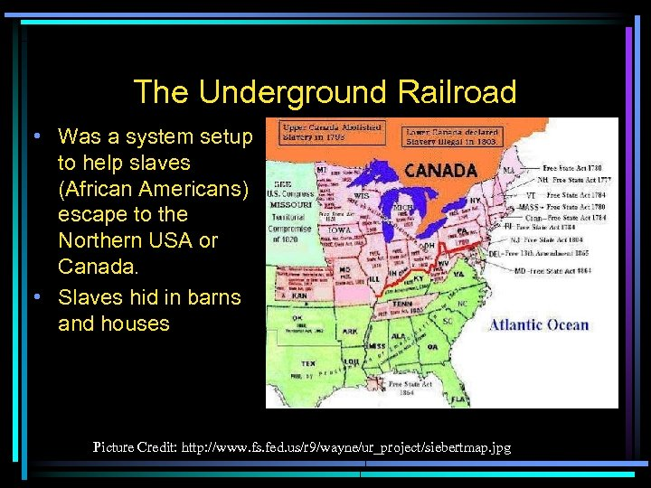 The Underground Railroad • Was a system setup to help slaves (African Americans) escape