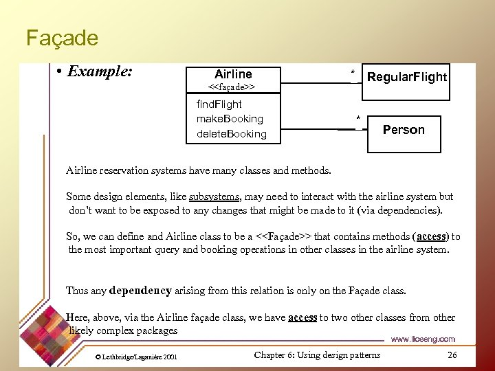 Façade • Example: Airline * Regular. Flight <<façade>> find. Flight make. Booking delete. Booking