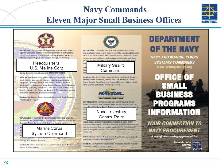 Navy Commands Eleven Major Small Business Offices Headquarters, U. S. Marine Corp Military