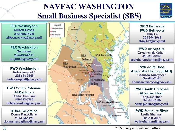 NAVFAC WASHINGTON Small Business Specialist (SBS) FEC Washington Allison Evans 202 -685 -0088 allison.