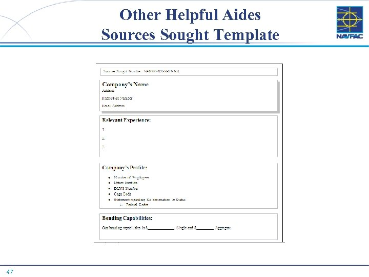 Other Helpful Aides Sources Sought Template 47