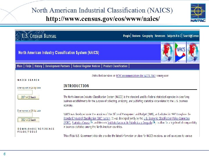 North American Industrial Classification (NAICS) http: //www. census. gov/eos/www/naics/ 6
