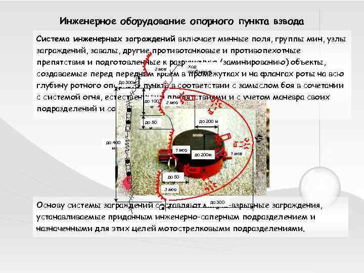 Инженерное оборудование опорного пункта взвода Система инженерных заграждений включает минные поля, группы мин, узлы