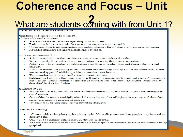 Coherence and Focus – Unit 2 What are students coming with from Unit 1?