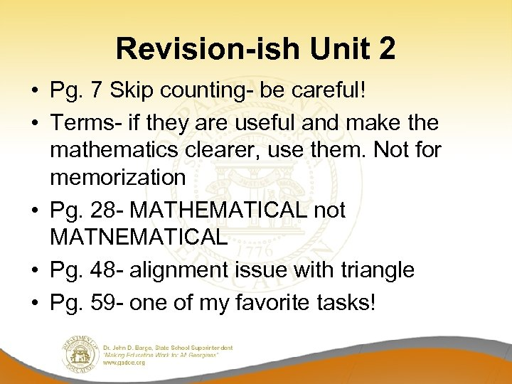 Revision-ish Unit 2 • Pg. 7 Skip counting- be careful! • Terms- if they