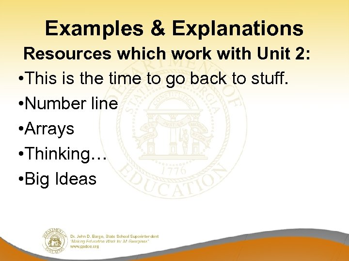 Examples & Explanations Resources which work with Unit 2: • This is the time