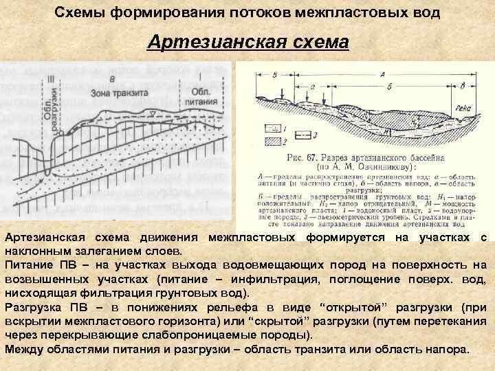 Схемы формирования потоков межпластовых вод Артезианская схема движения межпластовых формируется на участках с наклонным