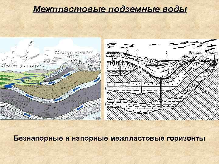 Межпластовые подземные воды Безнапорные и напорные межпластовые горизонты