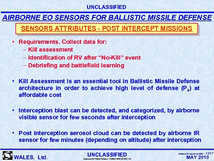 UNCLASSIFIED AIRBORNE EO SENSORS FOR BALLISTIC MISSILE DEFENSE SENSORS ATTRIBUTES - POST INTERCEPT MISSIONS