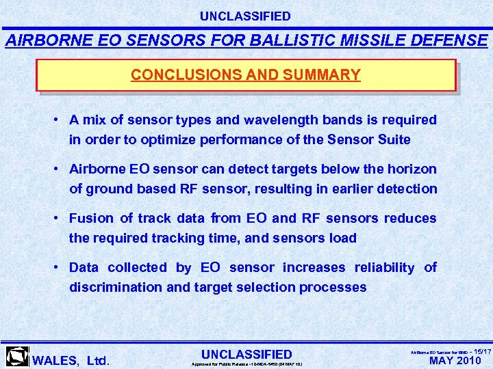 UNCLASSIFIED AIRBORNE EO SENSORS FOR BALLISTIC MISSILE DEFENSE CONCLUSIONS AND SUMMARY • A mix