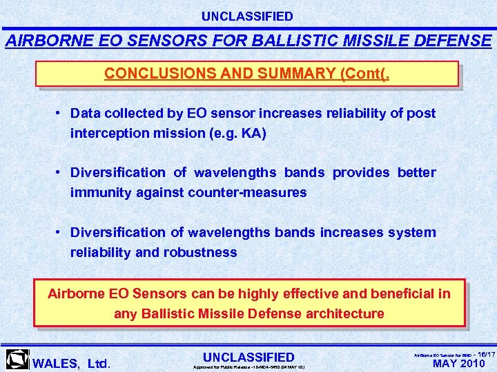 UNCLASSIFIED AIRBORNE EO SENSORS FOR BALLISTIC MISSILE DEFENSE CONCLUSIONS AND SUMMARY (Cont(. • Data