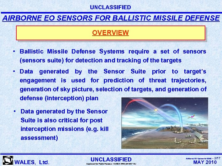 UNCLASSIFIED AIRBORNE EO SENSORS FOR BALLISTIC MISSILE DEFENSE OVERVIEW • Ballistic Missile Defense Systems