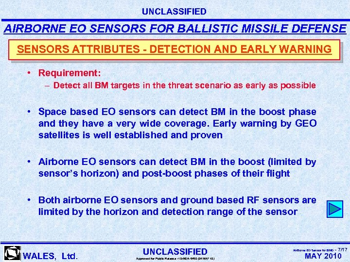 UNCLASSIFIED AIRBORNE EO SENSORS FOR BALLISTIC MISSILE DEFENSE SENSORS ATTRIBUTES - DETECTION AND EARLY