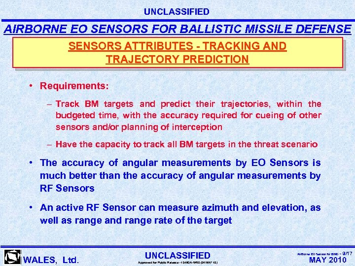 UNCLASSIFIED AIRBORNE EO SENSORS FOR BALLISTIC MISSILE DEFENSE SENSORS ATTRIBUTES - TRACKING AND TRAJECTORY