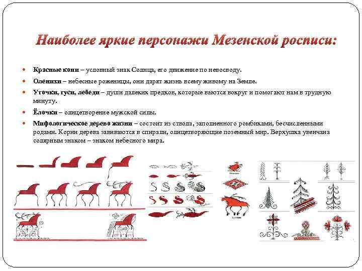 Наиболее яркие персонажи Мезенской росписи: Красные кони – условный знак Солнца, его движение по